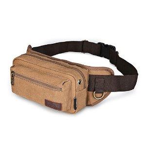 SIMU Canvas Belt Bag til Rejse eller Sport - Coffee (Maks Mobil: 170 x 90 x 10 mm)
