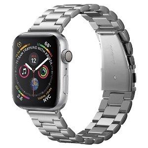 Apple Watch (42-45mm) Spigen Modern Fit Band - Rustfritt Stål Reim med Pinner - Sølv