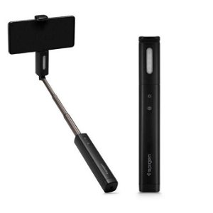 Spigen S550W Bluetooth Selfie Stick - Selfie Stang med Knapputløser & LED - Svart