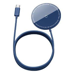 Baseus Simple Mini Magnetic 15W Wireless Charger - Kompatibel med MagSafe - Blå