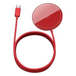 Baseus Simple Mini Magnetic 15W Wireless Charger - Kompatibel med MagSafe - Rød